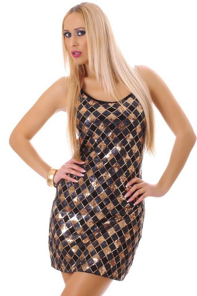 Flitrové párty šaty - Zlatá