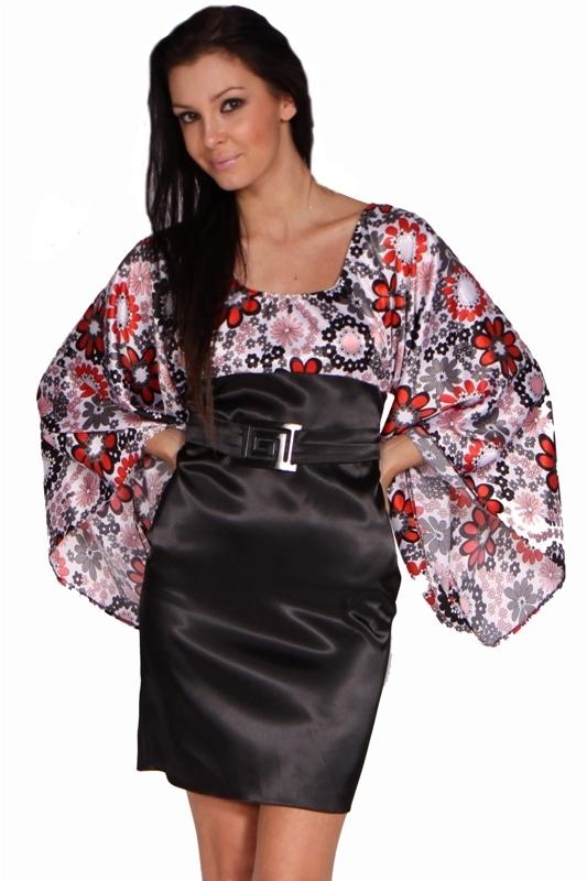 Saténové šaty s rukávem - S