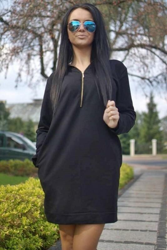 Šaty na zip s kapucí - S/M
