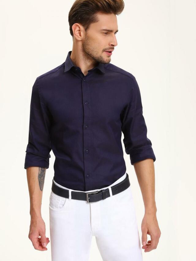 Top Secret Košile pánská tmavě modrá s dlouhým rukávem