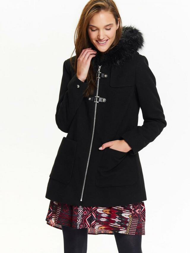 Top Secret Bunda dámská černá na zip s kožíškovou kapucí - 36