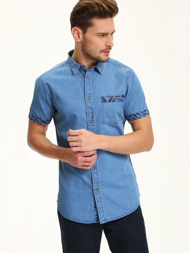 Top Secret Košile pánská jeans s krátkým rukávem - 38/39