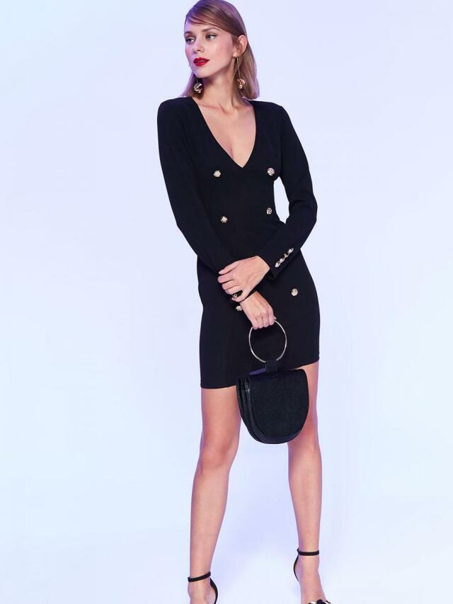 Top Secret Šaty dámské černé s řadovými knoflíky - 36