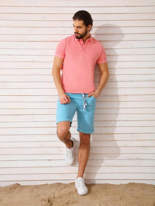 Top Secret Triko pánské s límečkem růžové krátký rukáv poslední kus