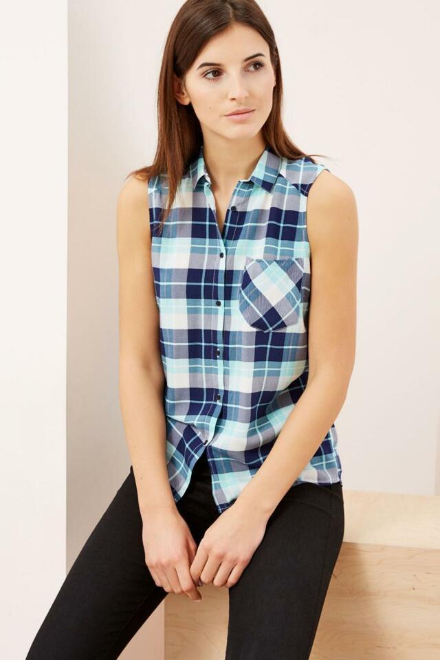 Moodo Košile dámská kostičkovaná bez rukávu - XS
