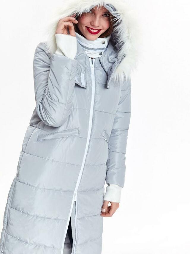 Top Secret Bunda dámská dlouhá šedá s kožíškovou kapucí