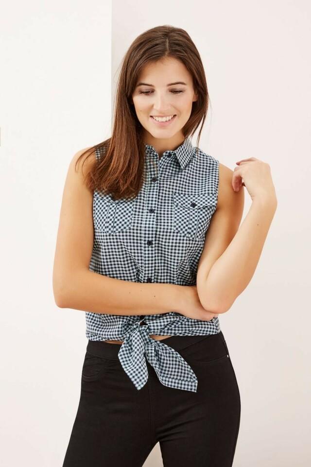 Moodo Košile dámská kostičkovaná bez rukávu