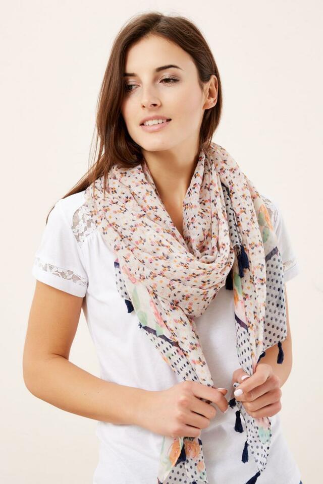 Moodo šátek dámský béžový se vzory