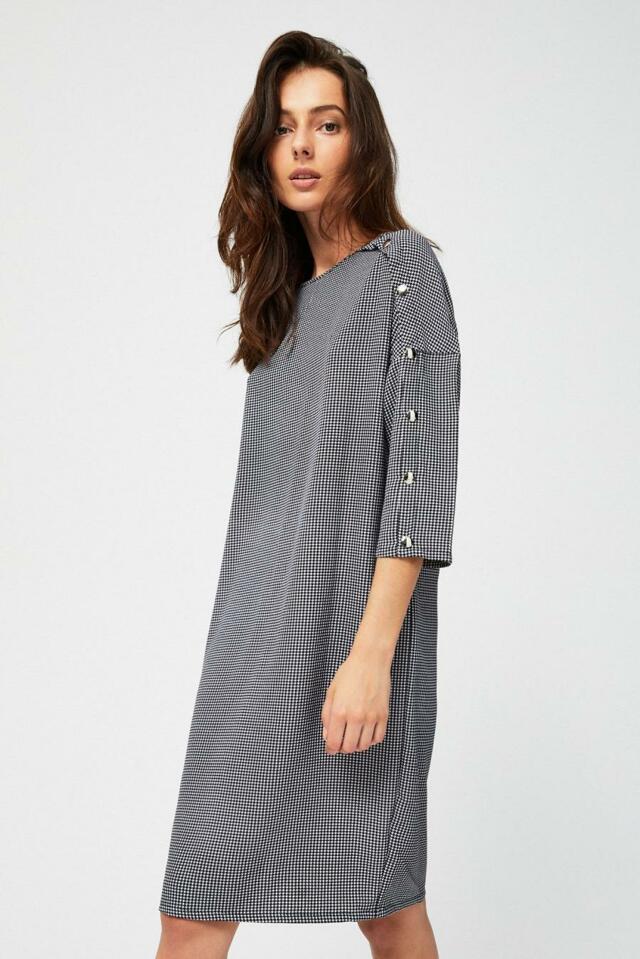 Moodo šaty dámské kostkované s 3/4 rukávem
