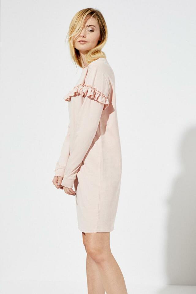Moodo šaty dámské s volánkem a dlouhým rukávem