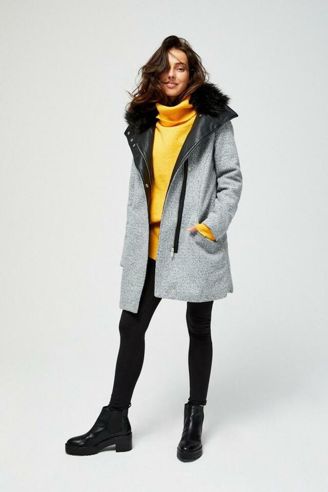 Moodo Kabát dámský s kožíškovým límcem - S