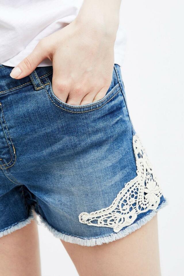Moodo šortky dámské jeans s bílou krajkou(593055) - 4 deae620952