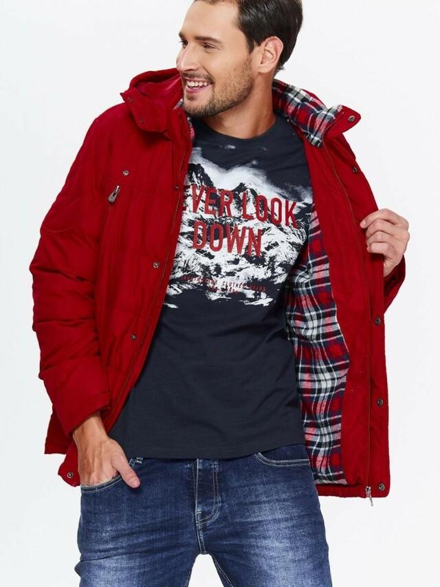 Top Secret Bunda pánská prošívaná červená s kapucí