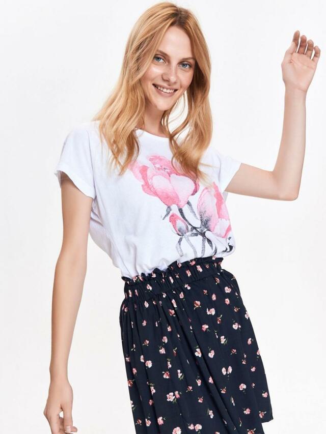 Top Secret Halenka dámská bílá s růžovou květinou a krátkým rukávem - 36