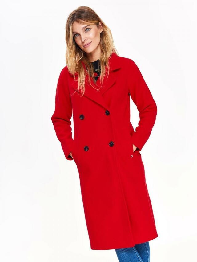 Top Secret Kabát dámský červený dlouhý na knoflíky - 34