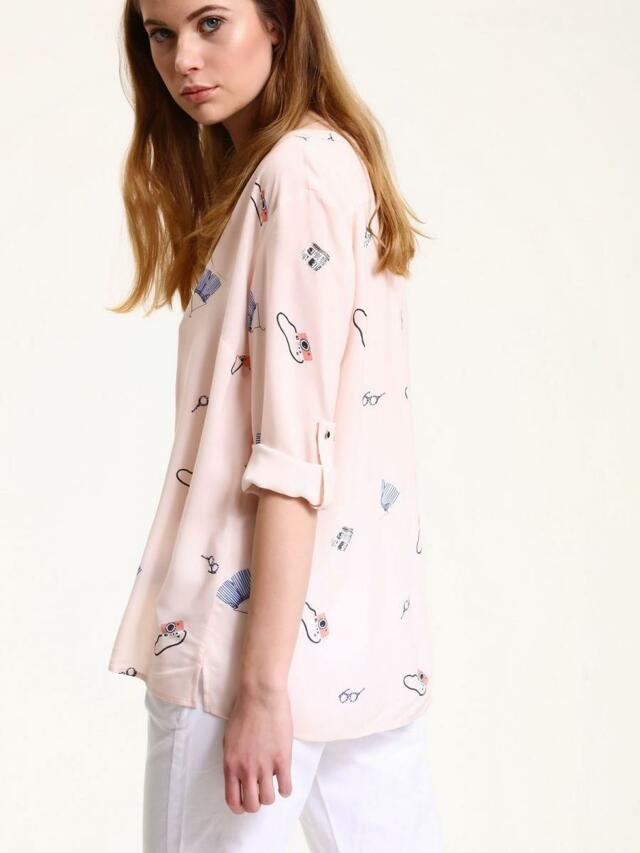 Top Secret Košile dámská růžová s potiskem a 3/4 rukávem - 38