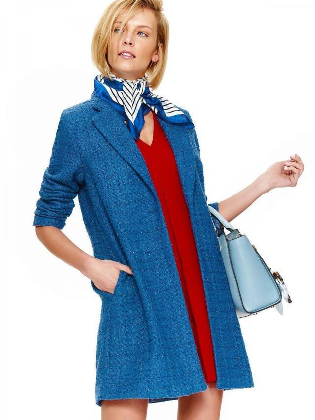 Top Secret Kabát dámský modrý na jeden knoflík - 36 c7ecbd22c8