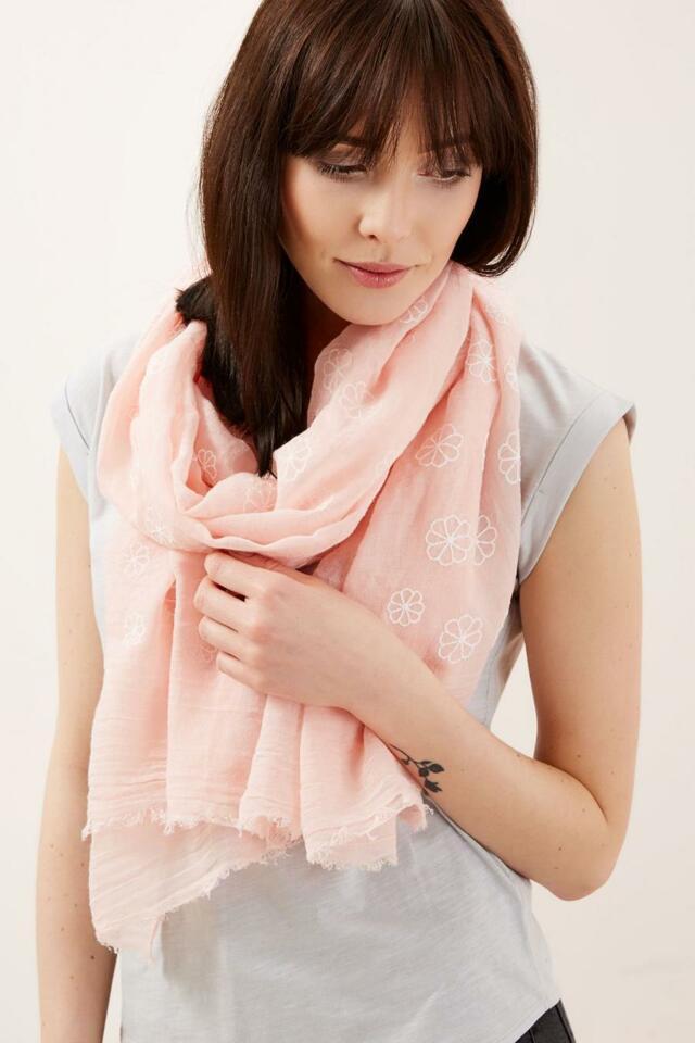 Moodo šátek dámský jednobarevný s květinami