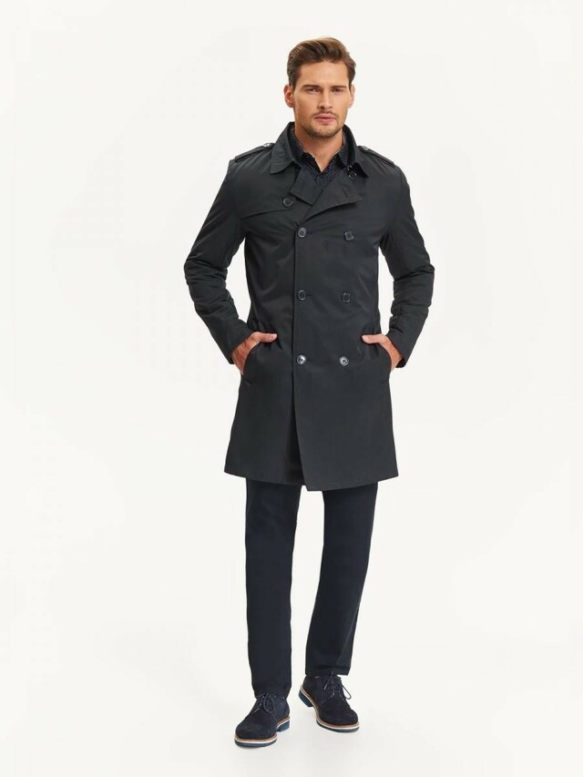 Top Secret Kabát pánský s dvouřadovými knoflíky a páskem