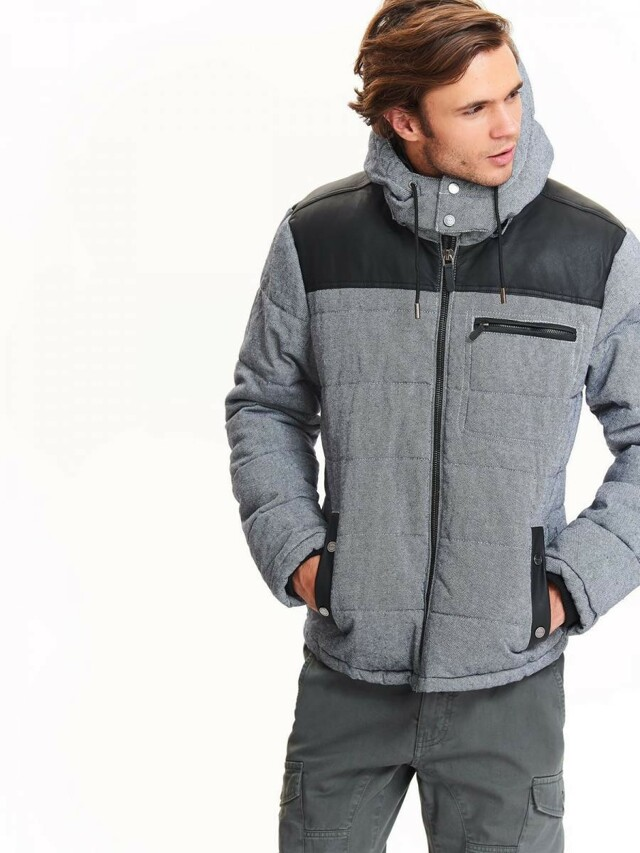Top Secret Bunda pánská šedá na zip s kapucí