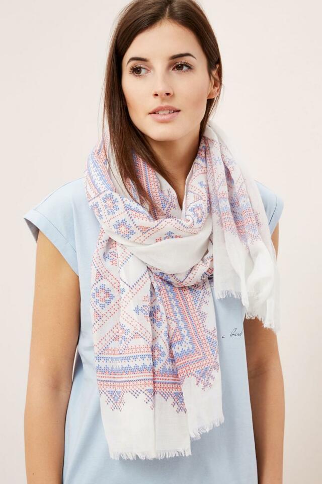 Moodo šátek dámský bílý se vzorem