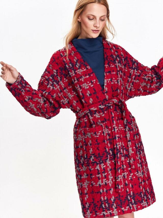 Top Secret Kabát dámský červený se vzorem - 36