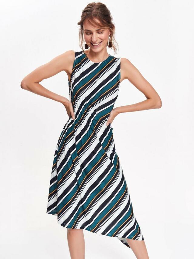 4c308deb8c1c Top Secret Šaty dámské pruhované s asymetrickým lemem bez rukávu