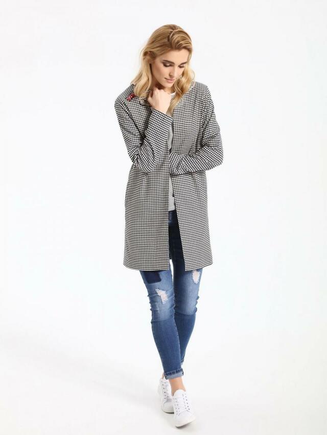 Top Secret Kabát dámský kostičkovaný s nášivkama
