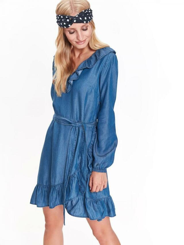 Top Secret šaty dámské jeans s volánkem a dlouhým rukávem - 40