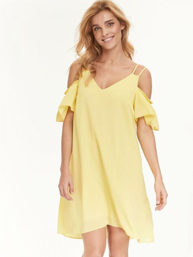 Top Secret šaty dámské žluté s průstřihy na ramenou - 40