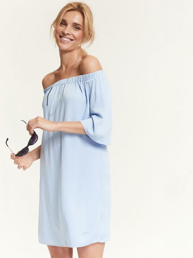 Top Secret šaty dámské bledě modré s odhalenými rameny