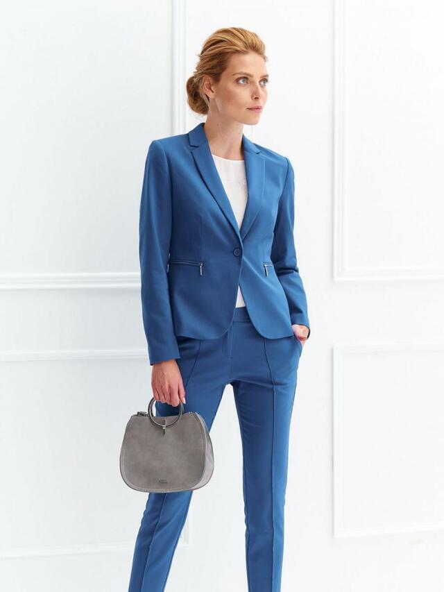 Top Secret Sako dámské modré na jeden knoflí a zipy