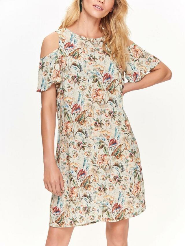 Top Secret šaty dámské béžové s průstřihy na ramenou b8a685d1801