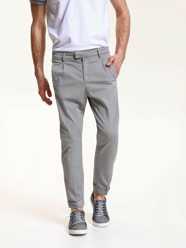 Top Secret Kalhoty pánské bavlněné šedé společenské - 36