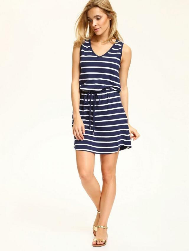 Top Secret šaty dámské tmavě modré pruhované - 40 4b28ddddb3