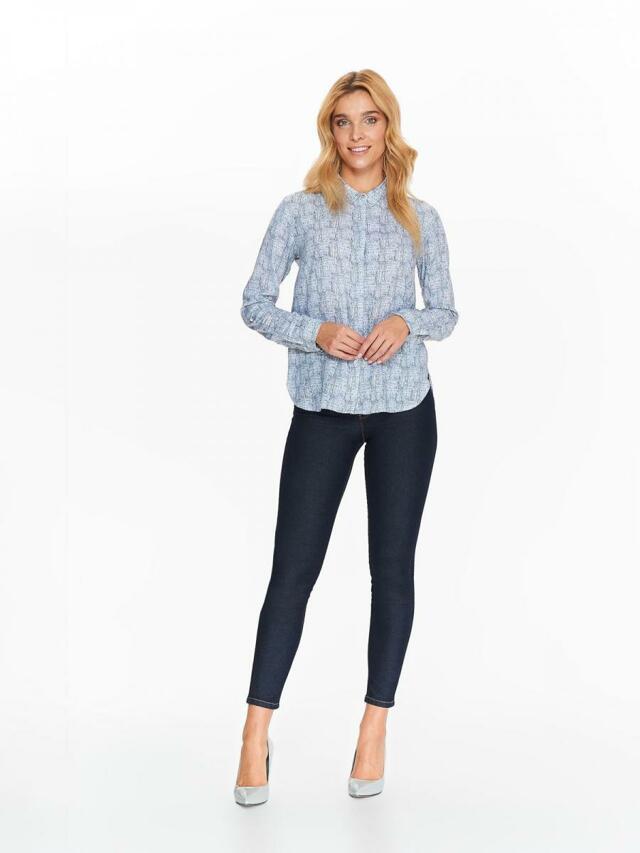 Top Secret Košile dámská bílá s černým vzorem a dlouhým rukávem