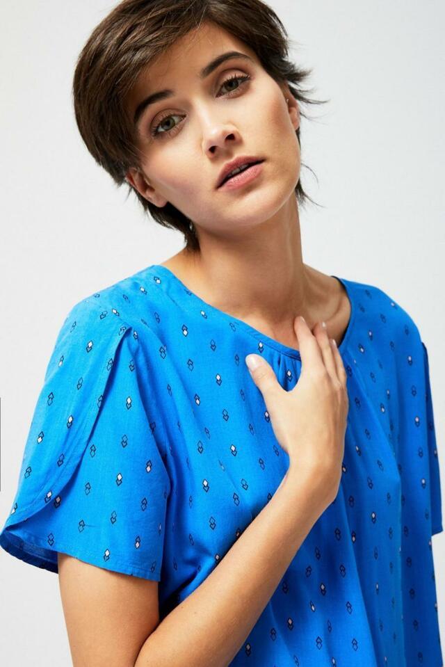 Moodo Košile dámská vzorovaná s krátkým rukávem - S