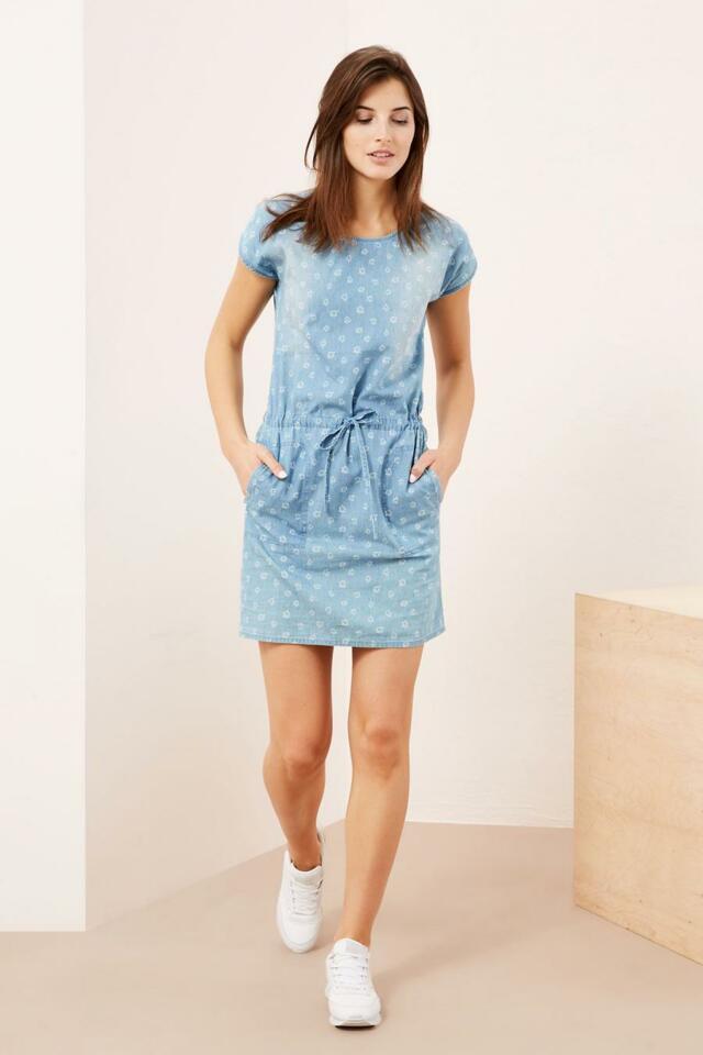 Moodo šaty dámské jeans s krátkým rukávem