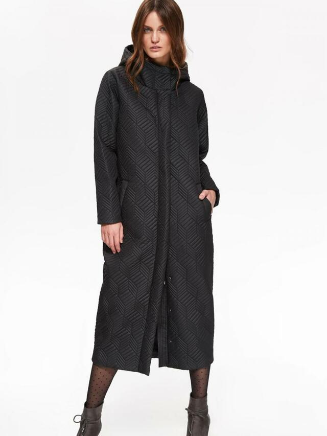 Top Secret Bunda dámská černá dlouhá s kapucí