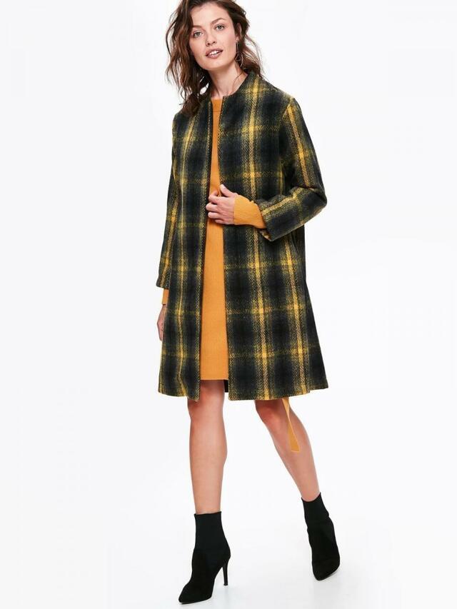 e1ab3dfa9375 Top Secret Kabát dámský kostkovaný bez podšívky se zavazovacím páskem - 34