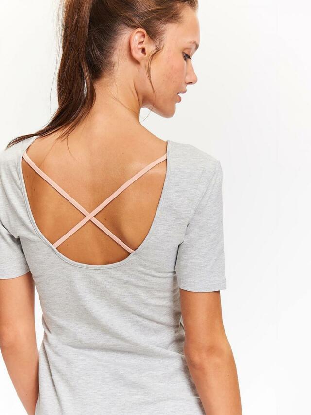 Top Secret Triko dámské šedé s velkým výstřihem na zádech krátký rukáv