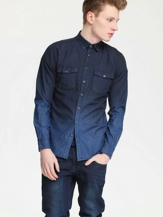 Top Secret Košile pánská jeans dlouhý rukáv
