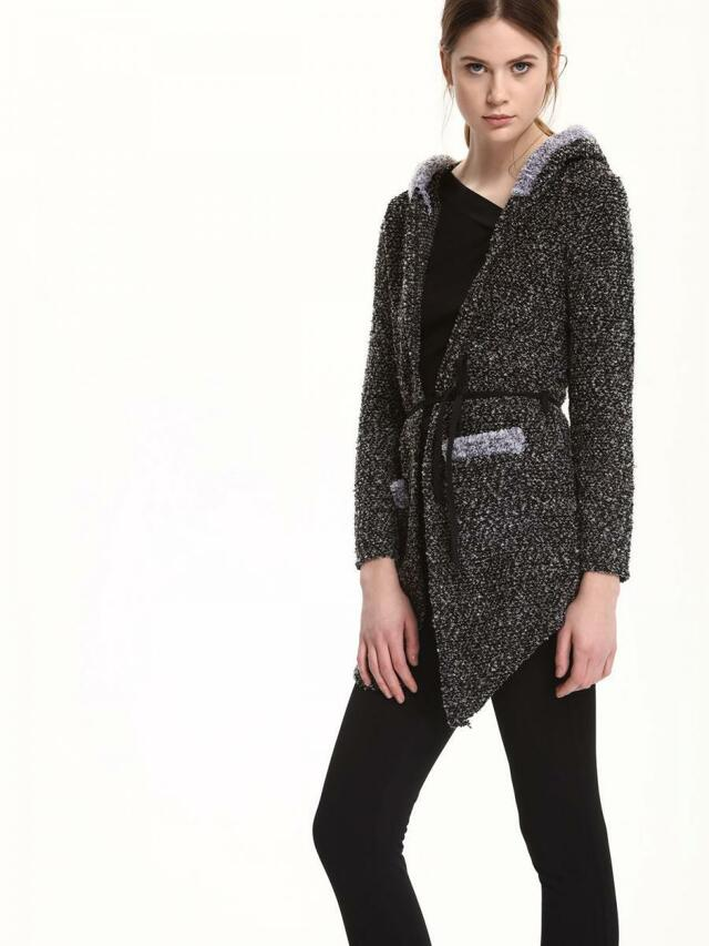 Top Secret Kabát dámský šedý s kapucí a páskem