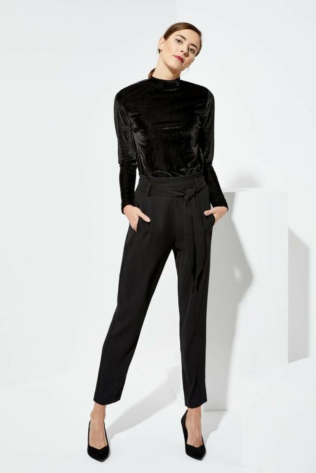 Moodo Kalhoty dámské černé s látkovým páskem - M