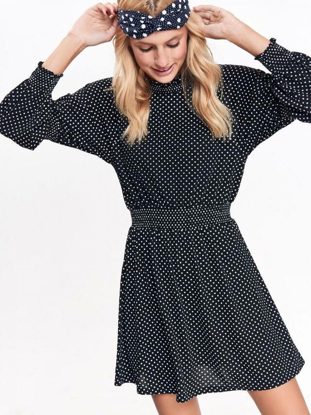 Top Secret šaty dámské černé s puntíky a dlouhý rukáv - S b9ff15e293
