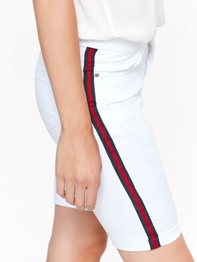 Top Secret Kraťasy dámské jeans bílé s bočním pruhem - 34