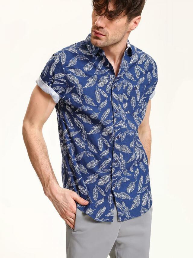Top Secret Košile pánská modrá s potiskem krátký rukáv