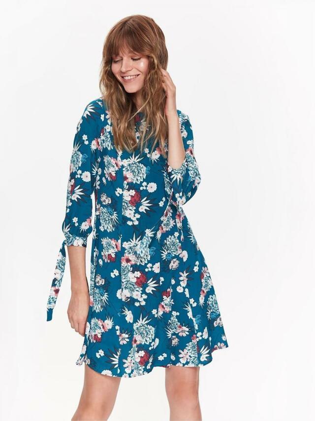 Top Secret šaty dámské květované s 3/4 zavazovacím rukávem - 40
