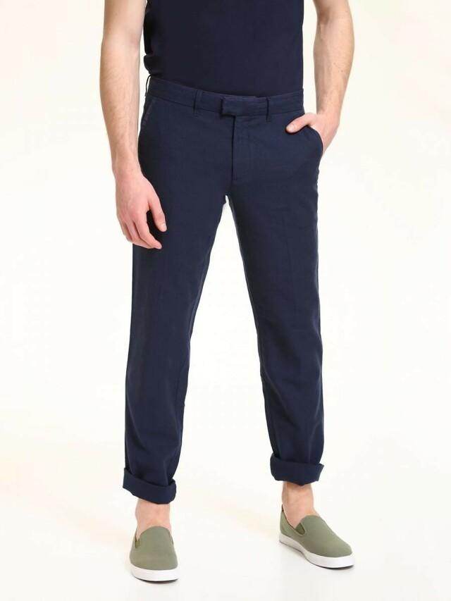 Top Secret Kalhoty pánské tmavě modré lněné