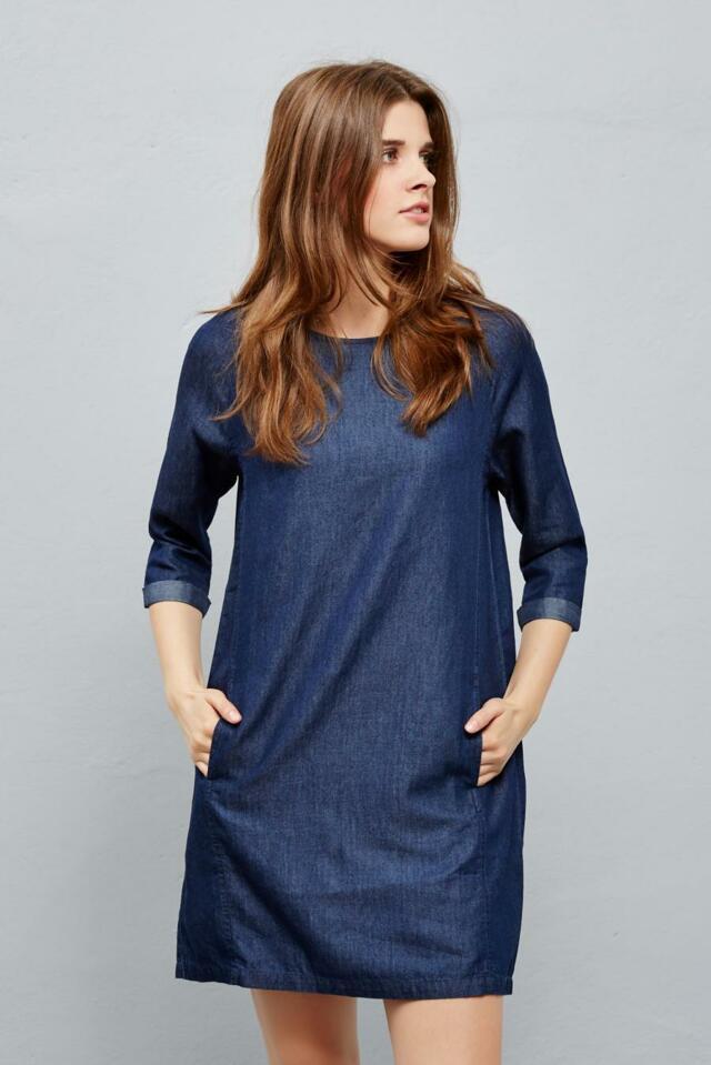 Moodo šaty dámské jeans 3/4 rukáv